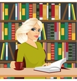 friendly blonde student girl studying in library vector image vector image