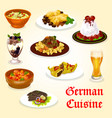 german cuisine dinner with meat dish and dessert vector image vector image