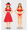 girls set in bikini underwear and red dress vector image vector image