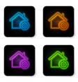 Glowing neon smart home settings icon isolated on