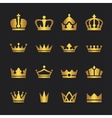 Golden crown icons set vector image vector image