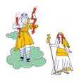 greek gods zeus jupiter or jove and his wife hera vector image