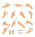 hand holding syringe doctor make vaccination vector image vector image