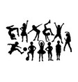 happy children activity silhouettes vector image vector image