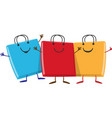 happy group shopping bag cartoon character vector image