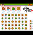 how many food objects cartoon game vector image vector image