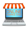 laptop with online marketing store vector image vector image