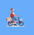 man courier cycling bicycle with pizza boxes fast vector image