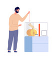 man plays with rat pets white rodent in cage vector image vector image