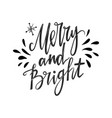 merry and bright hand lettering inspirational vector image