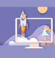 monitor screen mountains and children on rocket vector image vector image