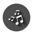 music note icon in flat style sound media with vector image