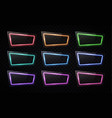 neon light banners set on black background led vector image