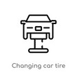 outline changing car tire icon isolated black vector image vector image