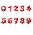 red balloons shaped in numbers vector image vector image
