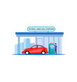 red car on petrol and gas station refill service vector image vector image