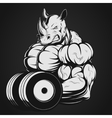 Rhino with dumbbell vector image vector image