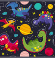 seamless pattern with a cute dinosaur in space vector image vector image