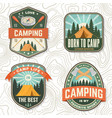 set camping badges patch or sticker vector image