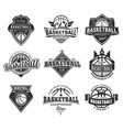 set isolated vintage basketball emblem vector image