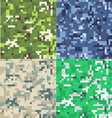 Set of camouflage military background in pixel vector image vector image