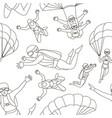 set of parachuter pattern vector image