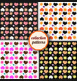 set seamless pattern with hearts and suns vector image vector image