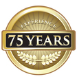 Seventy Five Years Experience Gold vector image vector image
