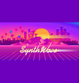 synthwave cyber landscape with laser grid vector image vector image