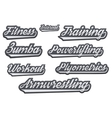 Tags of popular gym sports vector image vector image