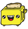 toaster holding a toasted bread vector image vector image