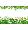 tropical plants seamless border vector image vector image