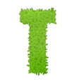 Uppecase letter T consisting of green leaves vector image vector image