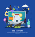 web security flat background vector image vector image