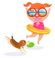little girl in swimming suit at the beach vector image