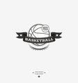 Basketball emblem logo badge with ribbon for vector image