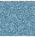 Gray doodle robots seamless pattern background vector image