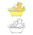 teddy bear washes in the bath vector image