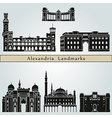 Alexandria landmarks and monuments vector image vector image