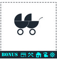 baby carriage for two baby icon flat vector image vector image