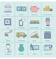 Bank Service Icons Flat Line vector image
