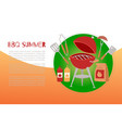 bbq summer time banner with grill barbeque and vector image
