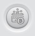 bitcoin mining button icon vector image vector image