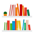 books on shelves icon flat isolated vector image