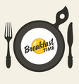 breakfast banner with fried egg fork and knife vector image