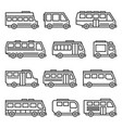 bus icons set on white background line style vector image