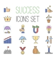 business success icons set isolated vector image