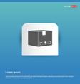 cardboard boxes icon - blue sticker button vector image