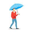 cartoon character person holding color umbrella vector image vector image