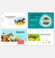 cartoon equestrian sport websites set vector image vector image
